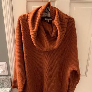 Burnt orange Eileen Fisher cowl neck sweater med